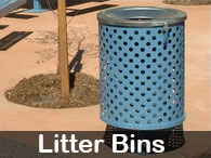 Steel Post & Rail - Litter Bins