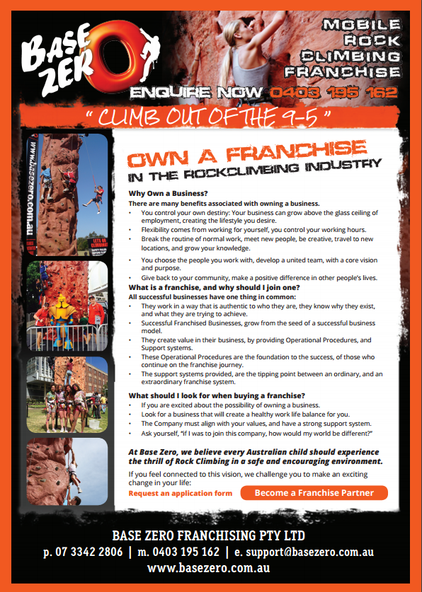 Rock Climbing Franchise Business for Sale in Brisbane and Sydney.
