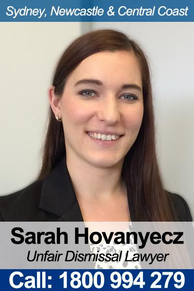 Unfair Dismissal Lawyer - Sarah Hovanyecz