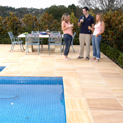pool surround pavers in natural stone