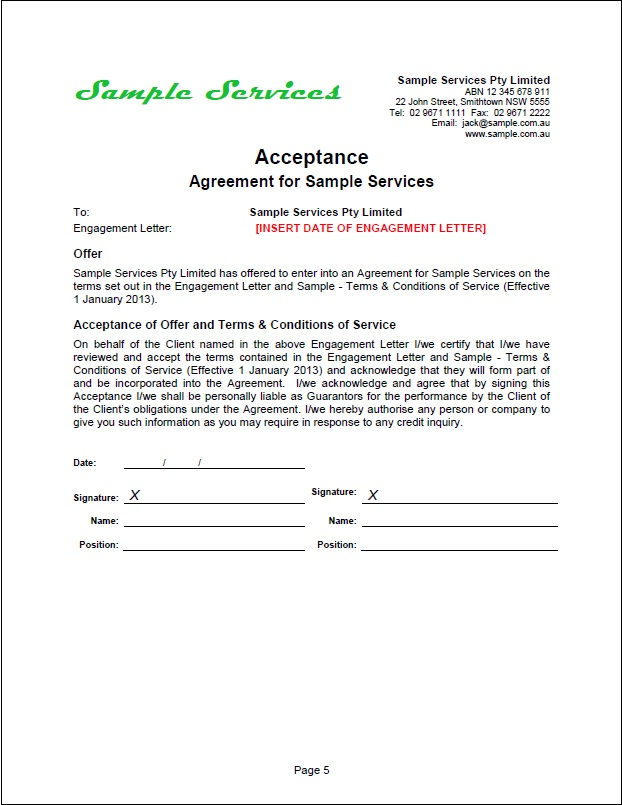 acceptance agreement for services forms