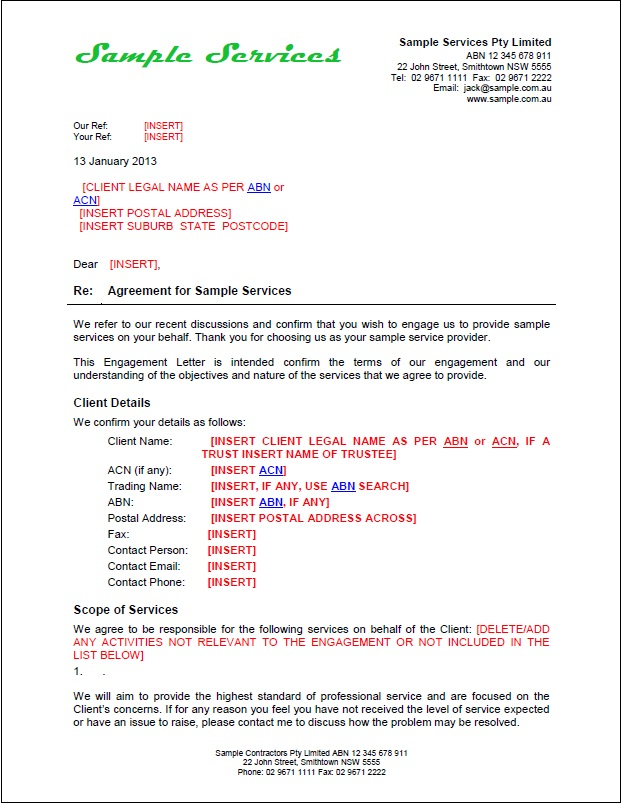 TradeSafe Contracts Package Overview Business and Professional – Letter of Engagement Template Free