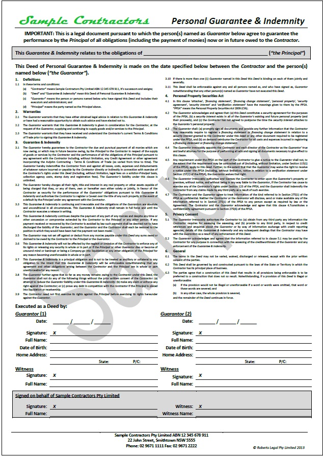 NEW TradeSafe Contracts Documentation Overview and Samples – Sample of Indemnity Form