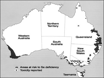 Selenium deficient zones of Australia