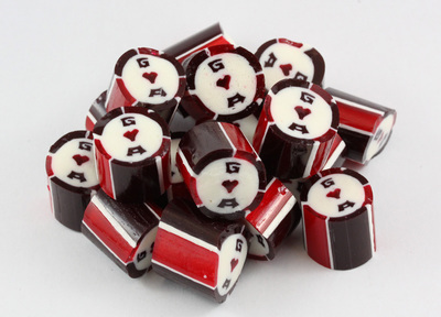 dark red sweet candies