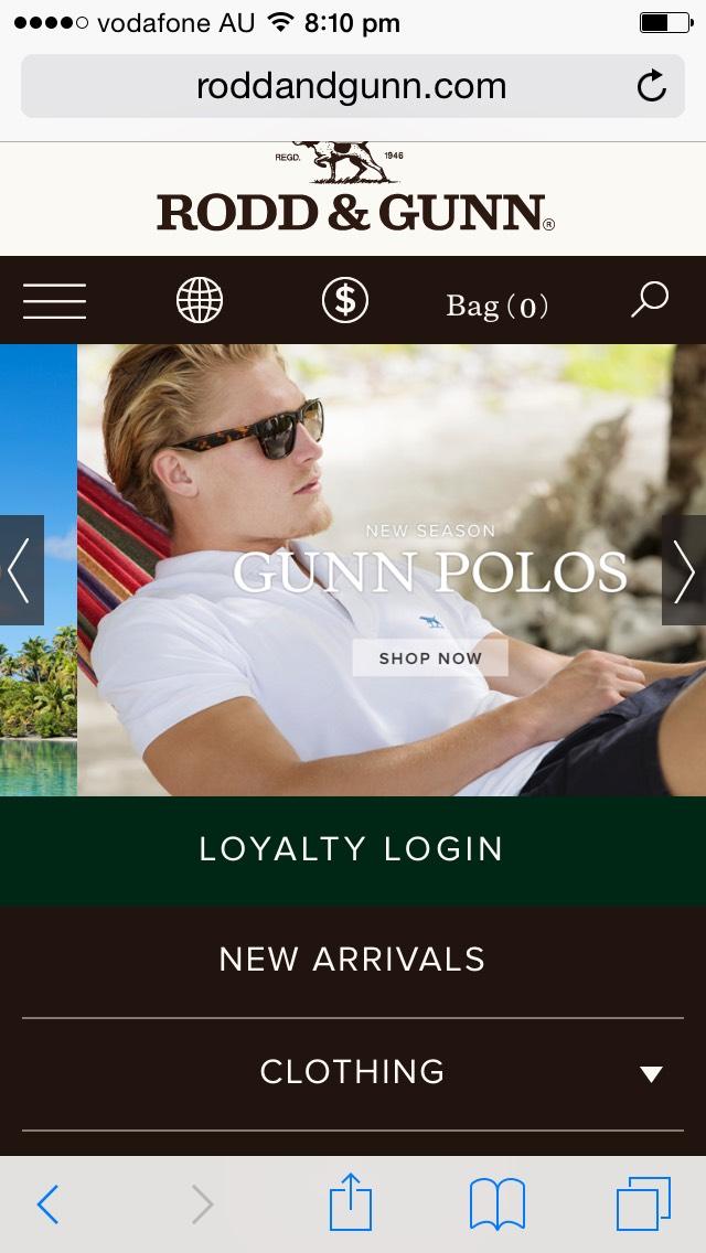 Rodd and Gunn Australian Mobile Website