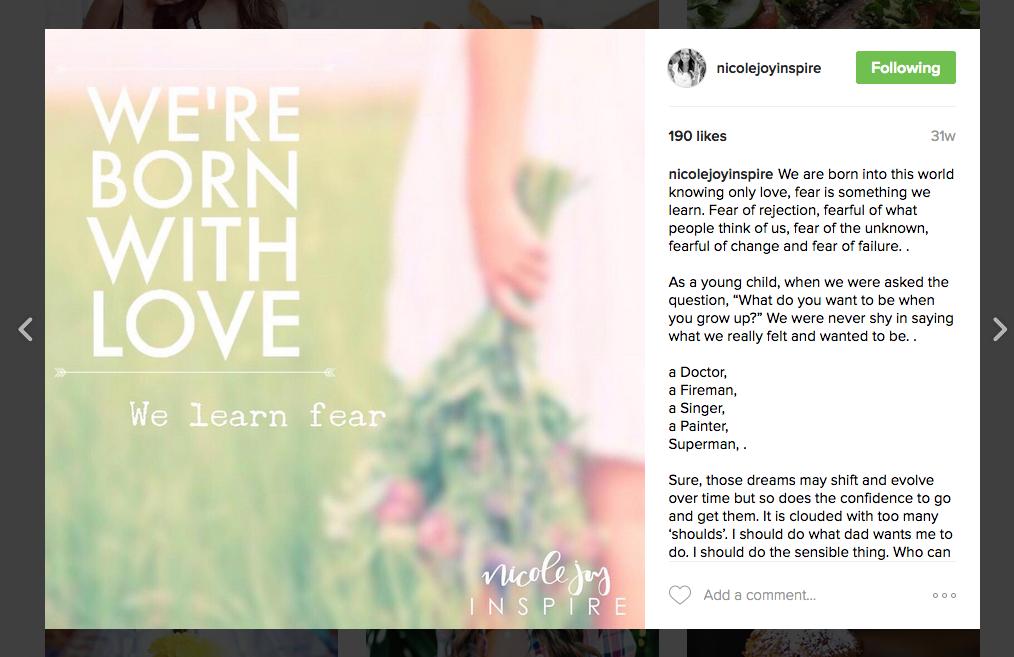 Nicole Joy Inspire Instagram examples