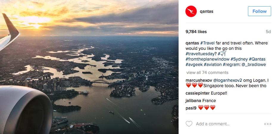 Instagram Hashtags; Quantas Example
