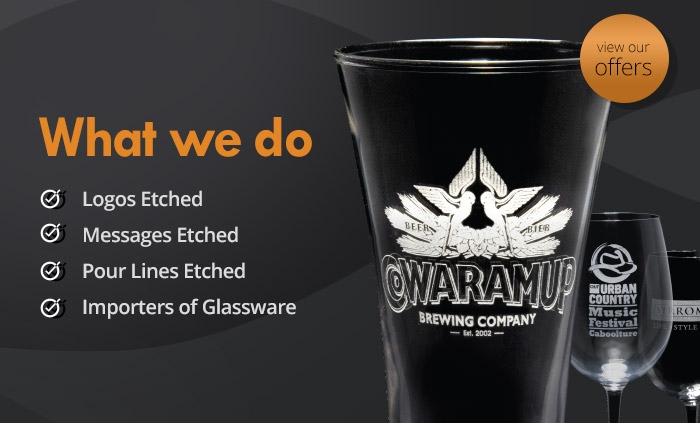Glassware etching, Etching glass, Logos etched in glass, Etching glass in Australia