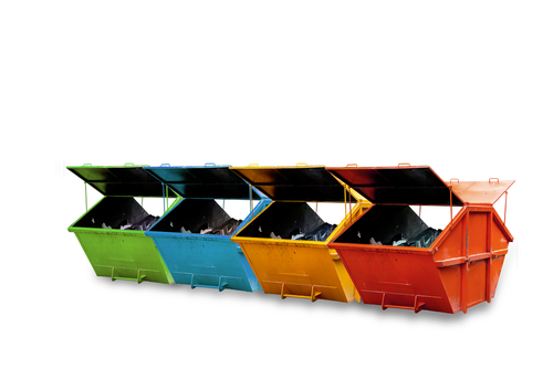 a set of colorful skip bins for hire
