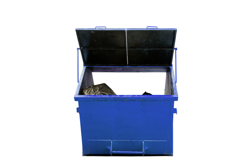 a blue 3 cubic metre skip bin