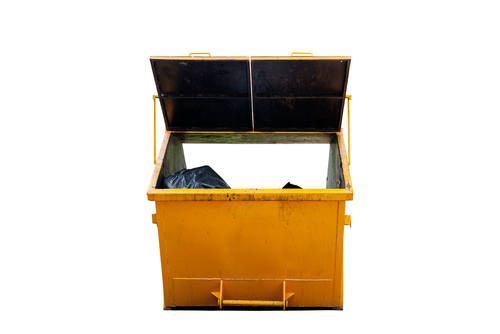 a yellow  2 cubic metre bin with top cover