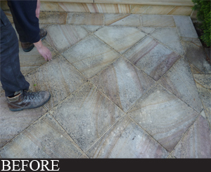 before dirty natural stone