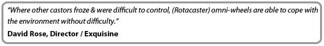 Rotacaster omni-wheels offer increased manoevrability