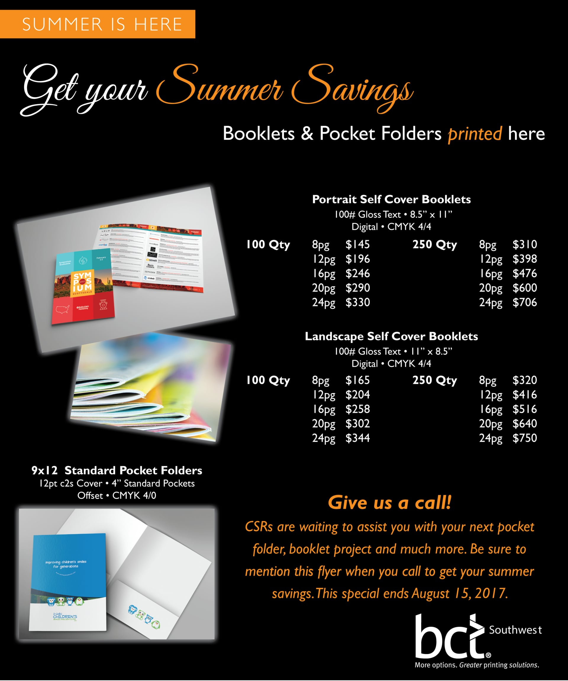 SUMMER IS HERE! Get your Summer Savings! Booklets & Pocket Folder printed here