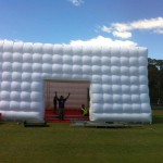 Inflatable cube hire setup