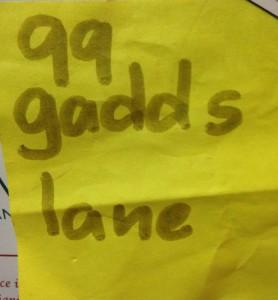 gadds lane note