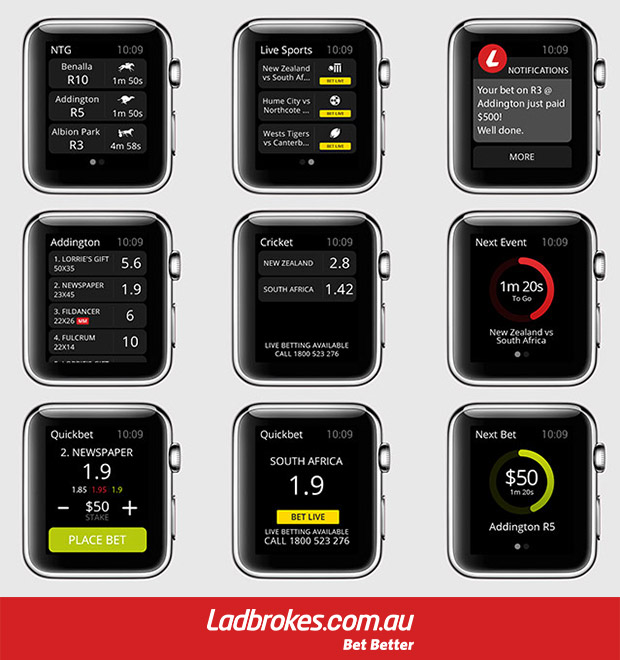 Ladbrokes Apple Watch Betting App Interface