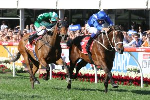 Winx beat Humidor to claim an historic victory in the 2017 Ladbrokes Cox Plate. Photo by: Ultimate Racing Photos