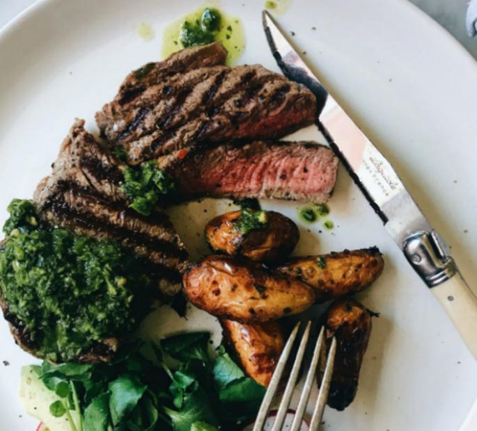 Steak With Basil Chimichurri Square