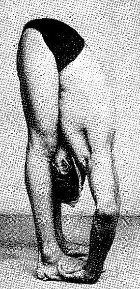 Figure 9: Sri BKS Iyengar in Pada Hastasana using his shoulder blades to lengthen his spine and traction his neck