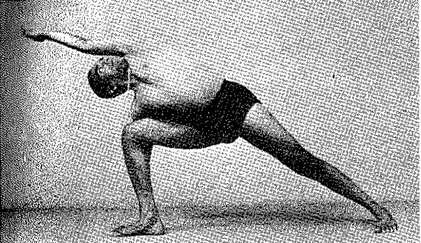 Figure 10: Sri BKS Iyengar in Utthita Parsvakonasana using his riased shoulder blade to lengthen one side of his spine and traction his neck, while using his depressed shoulder blade to shorten the other side of his spine and reciprocally relax the muscles of his neck. This effectively makes a really good side bending posture (Diagram from 'Light On Yoga')