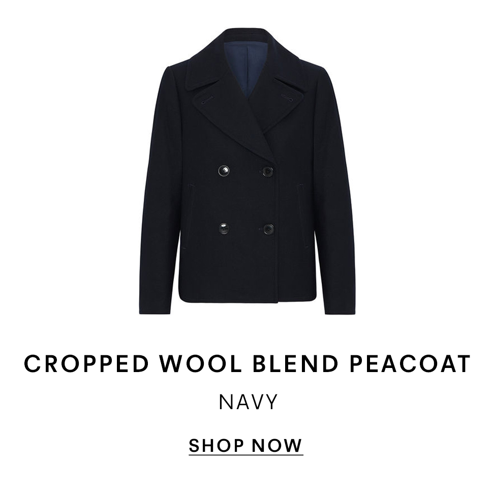 Cropped Wool Blend Peacoat