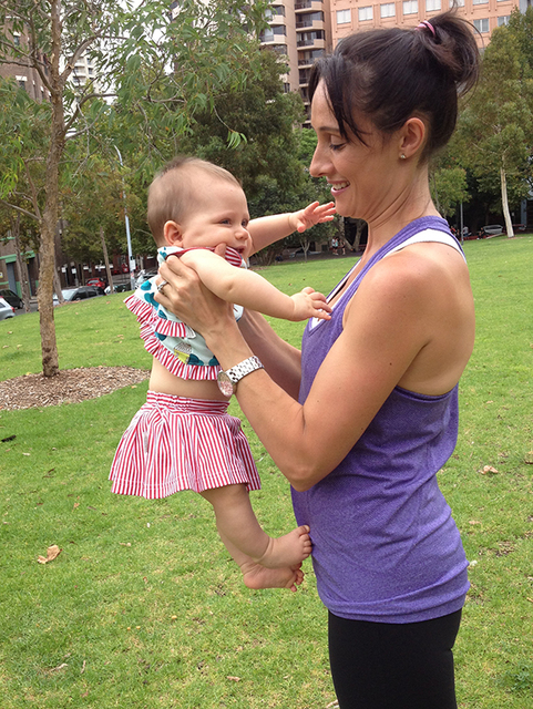 12WBT Getting Fit with Baby  - Instead of using dumbbells, try standing up with a straight back, lower your baby and then curl your arms back up again
