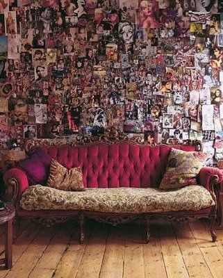 Bohemian couch and decorator wall