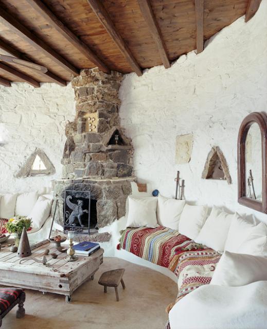 Moroccan style boho living room