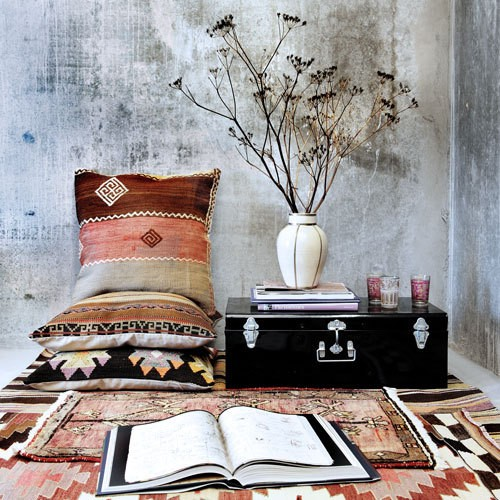Tribal print gypsy style reading corner, cushions, rug and trunk