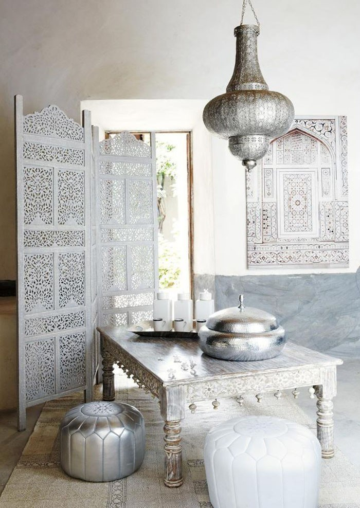 Silver Moroccan lighting, decor and furniture