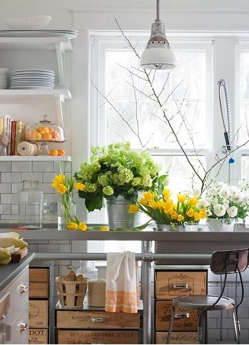 Industrial Kitchen with Flowers