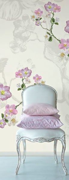 Traditional white dining chair with cherry blossom wallpaper
