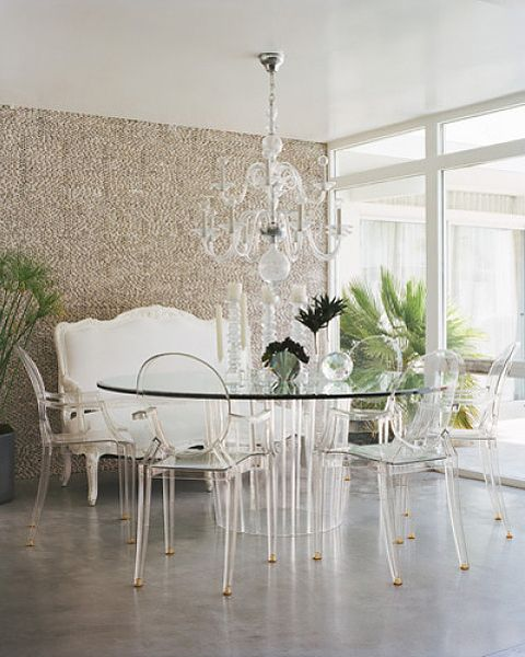 Ghost see-through dining table setting and chandelier