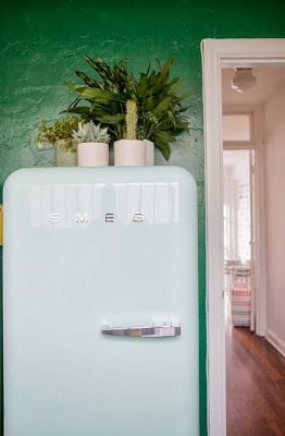 Retro Smeg Fridge, potplants and timber floors