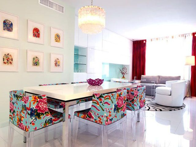 Retro dining and living are with patterns and colours