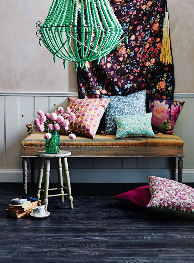 Beaded Chandelier, Floral prints and cushions