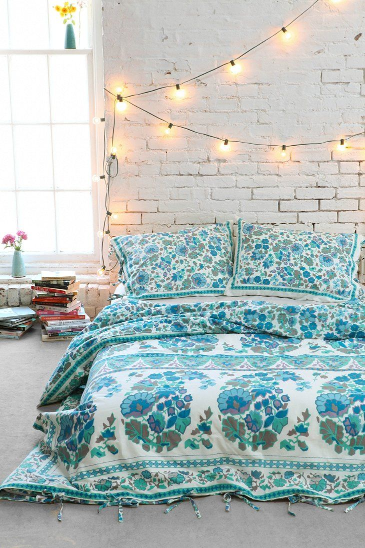Floral Bedding, books, painted bricks and fairy lights