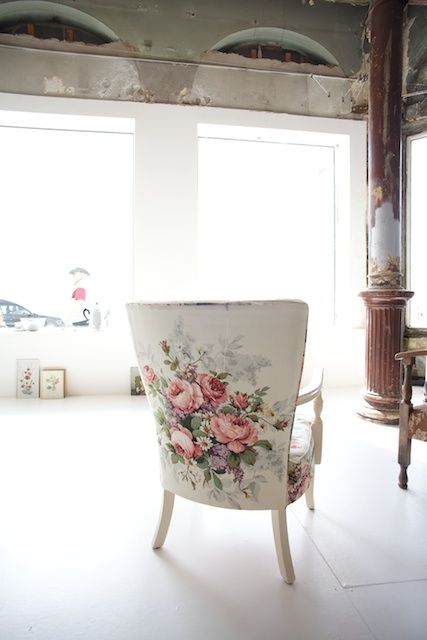Floral Backed Upholstered Chair