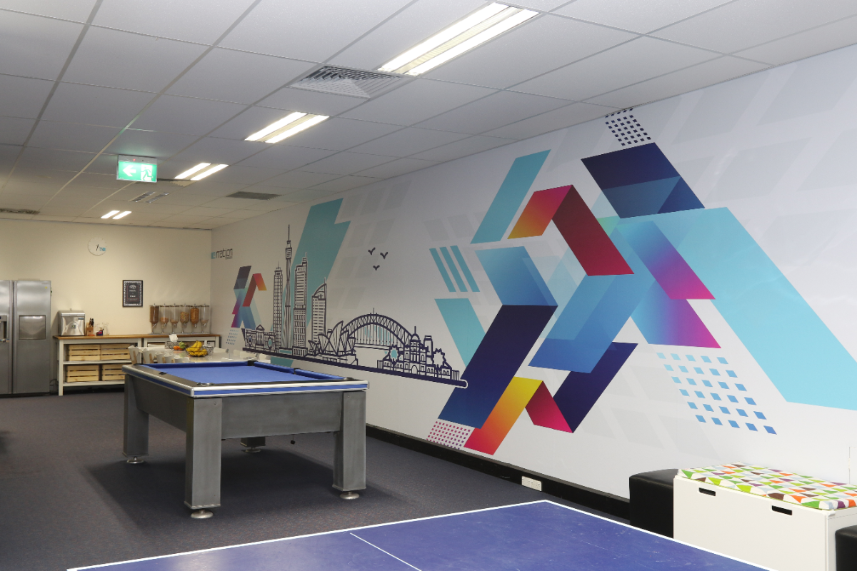 Breakout room with ping pong table, pool table and artsy murals