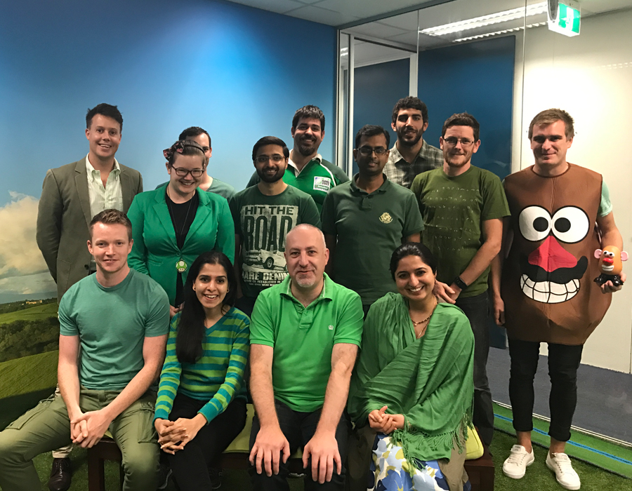 the 4mation team wearing green St Patrick's Day outfits