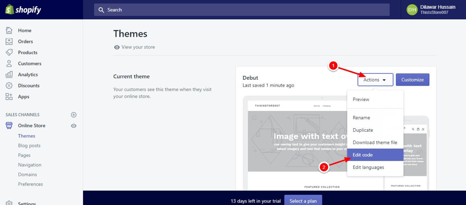 How to remove 'Powered by Shopify' from footer of your store screenshot 7 (select Edit Code 1.2)