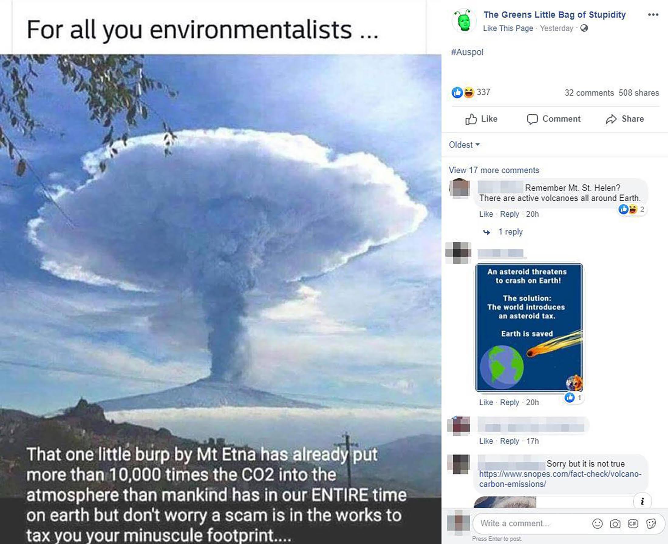 Mt Etna Facebook Post