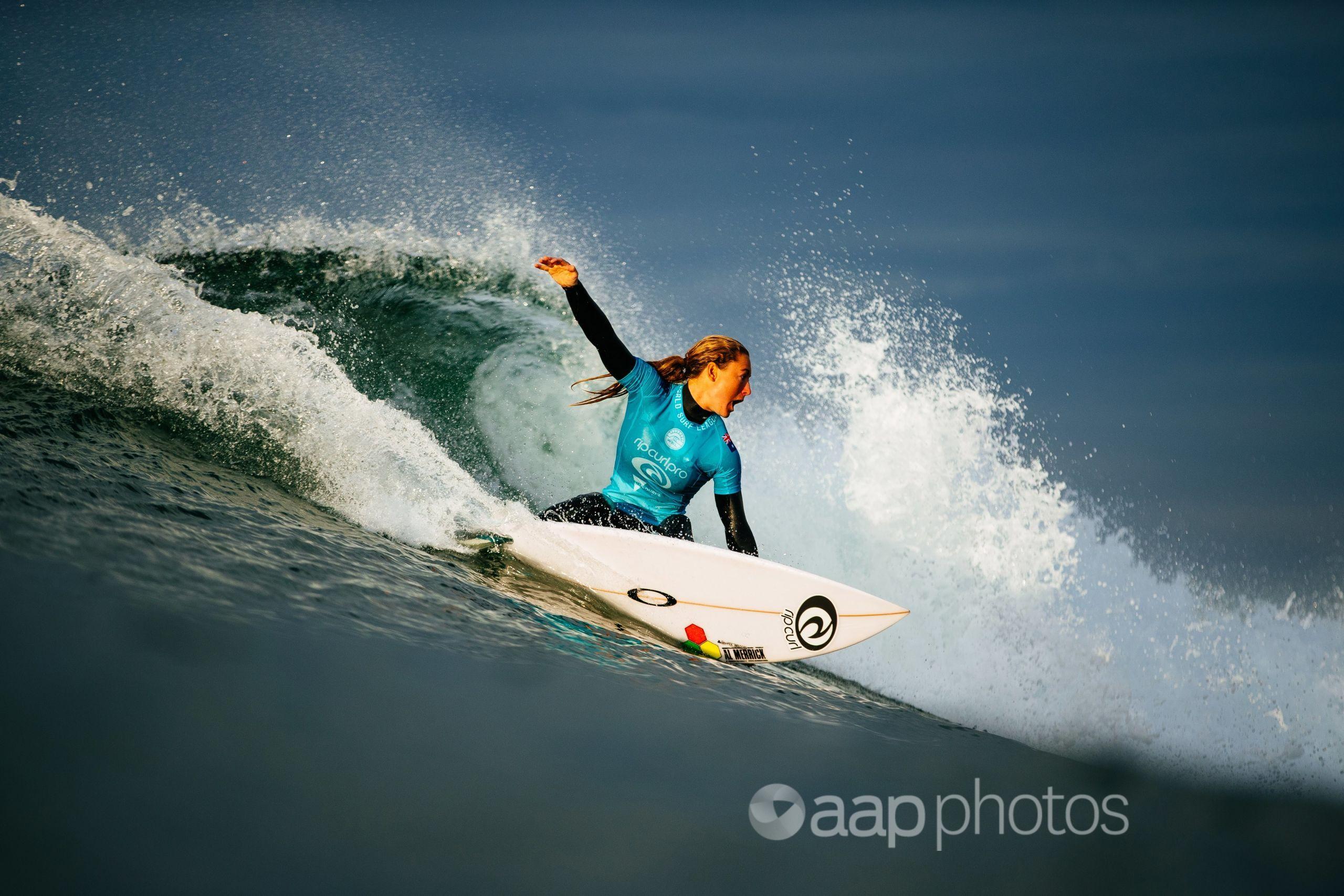 Surfer Nikki Van Dijk at the Rip Curl Pro