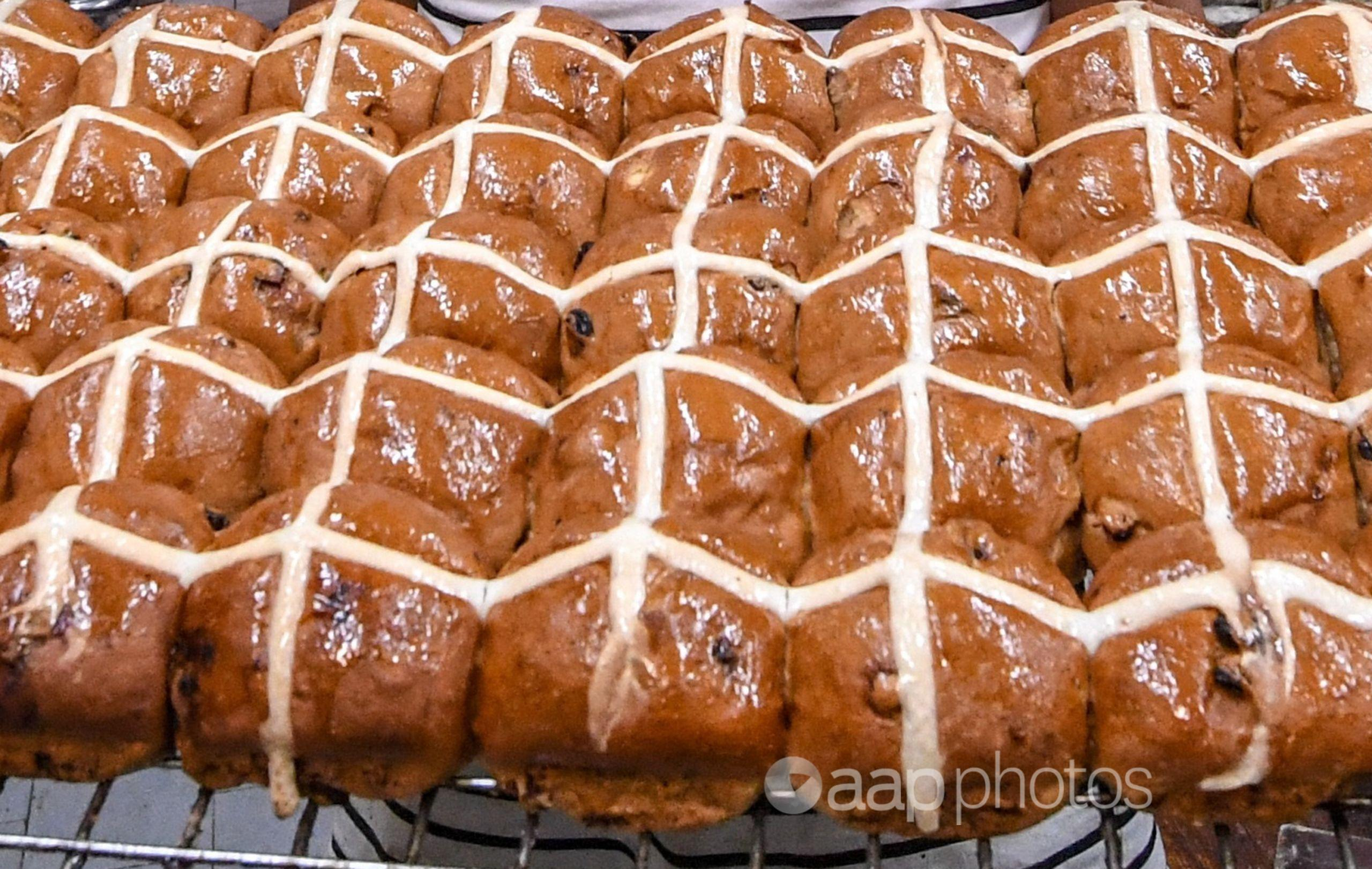 A batch of hot cross buns.