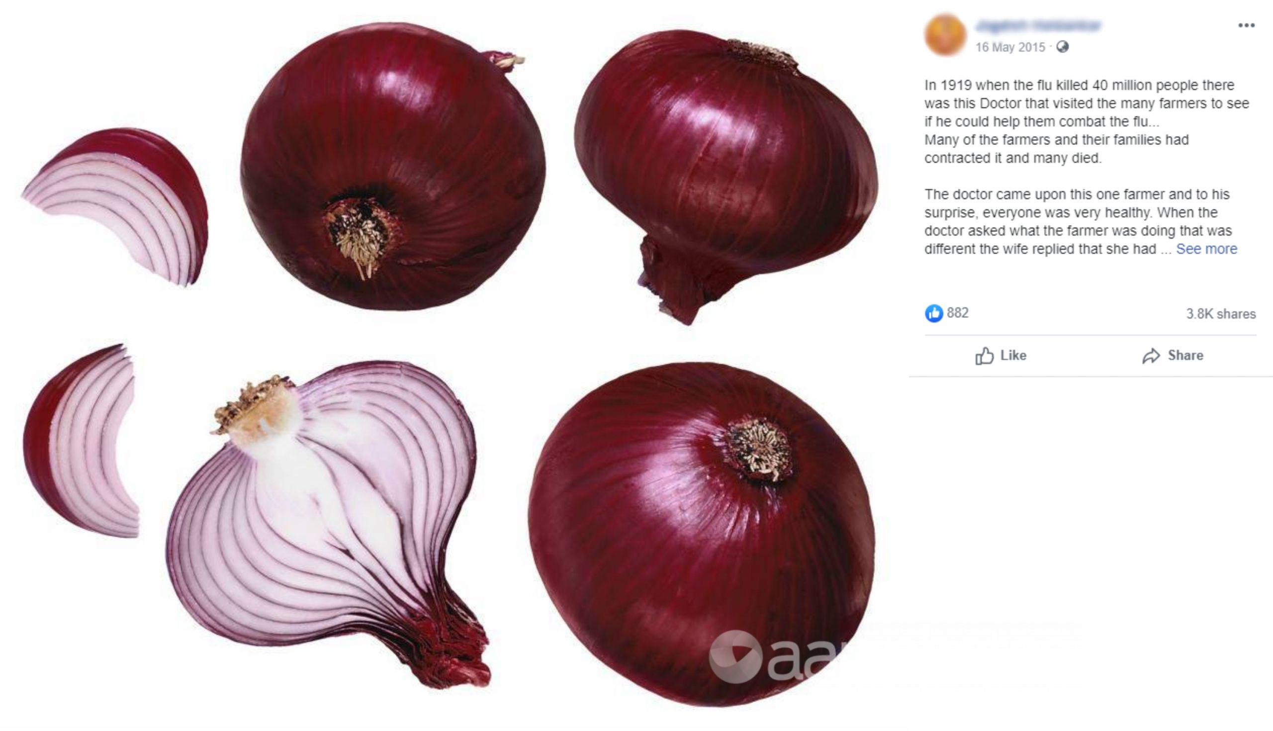 Facebook post featuring cut and whole red onions