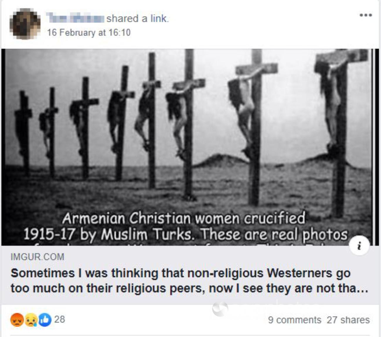Facebook post with black and white image of women on crosses