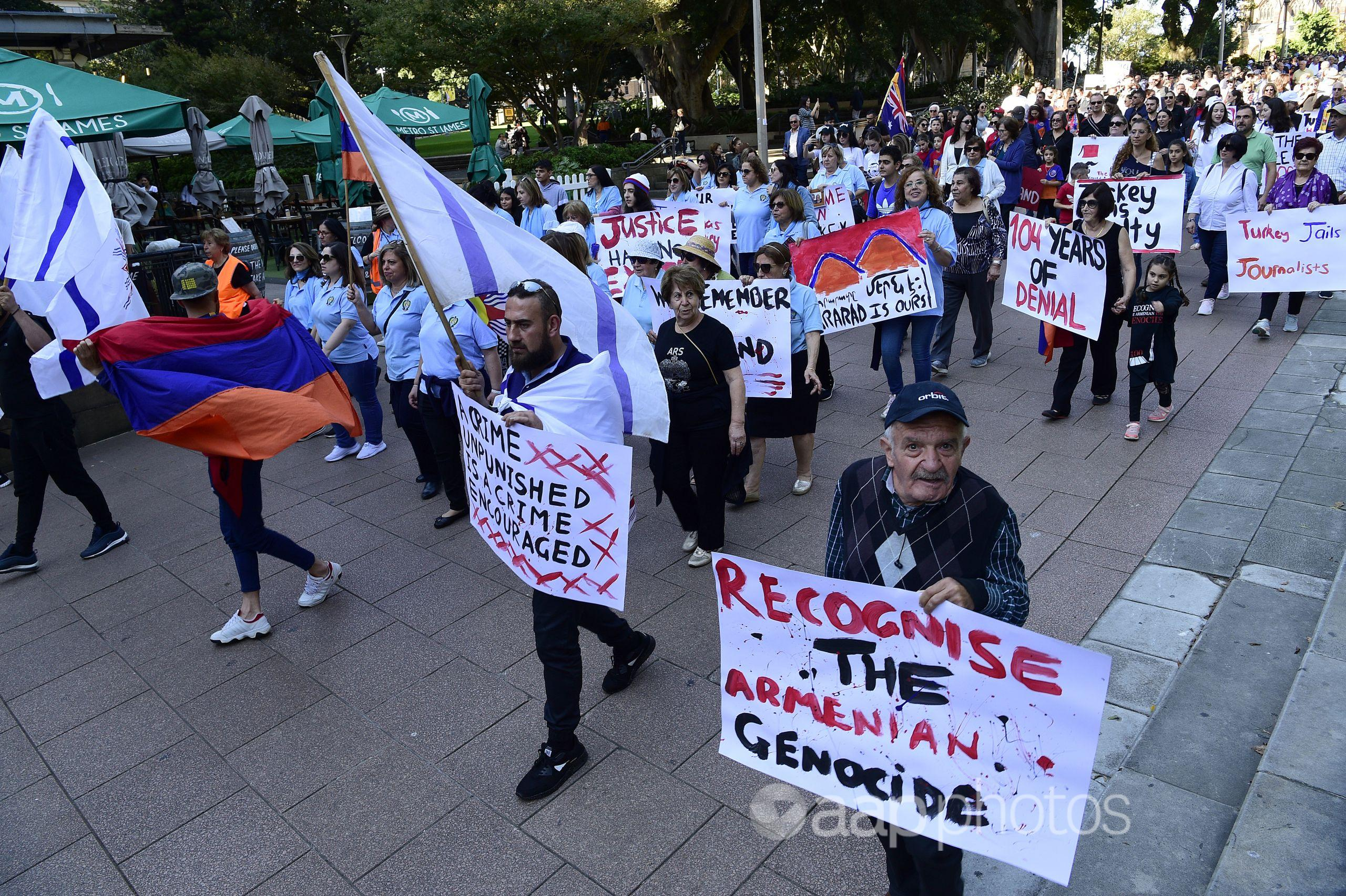 Armenian Australians stage a protest march in Sydney in 2019.