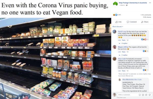 Screenshot of a Facebook post